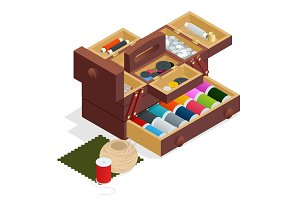Isometric Sewing kit in wooden box, isolated on white background