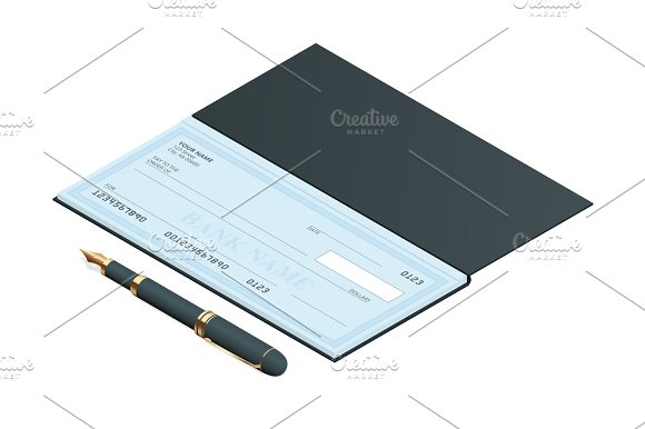 Bank Check With Modern Design Flat Isometric Illustration Cheque Book On Colored Background Bank Check With Pen Concept Illustration Pay Payment Buy