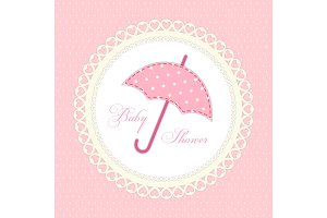 Cute vintage baby shower card with umbrella as fabric applique