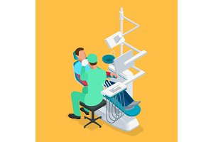 Isometric dentist examining mans teeth in the dentists chair. Medicine concept