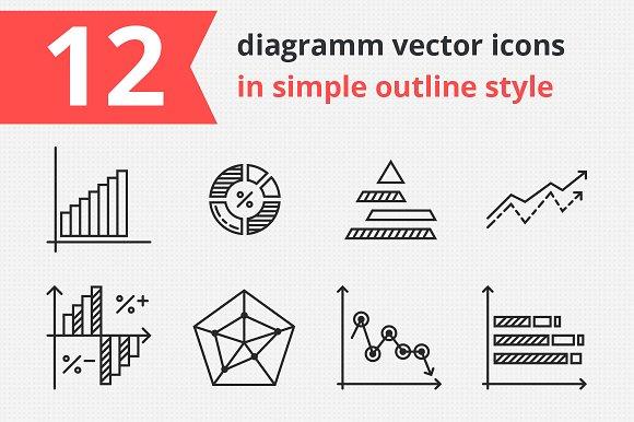 12 Diagrams Vector Icons