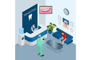 Isometric Modern dental practice. Dental chair and other accessories used by dentists in blue, medic, reception, detail dental panoramic radiograph equipment. Flat vector concept