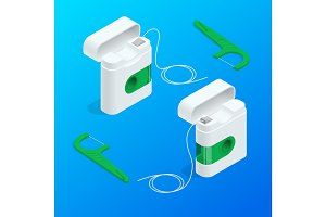 Vector isometric quality dental floss set and Toothpick with different color.