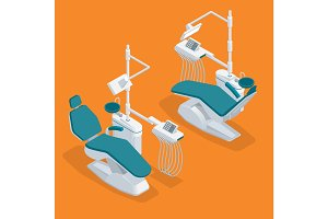 Isometric Modern Dentist Chair Isolated. Equipment in dental cabinet. Modern dental practice.