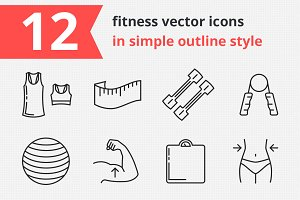 12 fitness vector icons