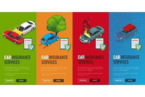 Car insurance services. Protection from danger, providing security. Vector isometric illustration flat design. Web banners for website.