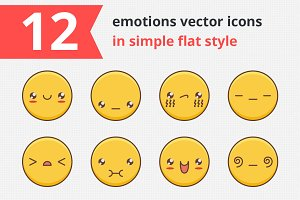 12 emotions vector icons vol.1