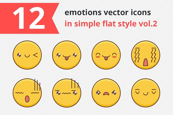 12 Emotions Vector Icons Vol.2