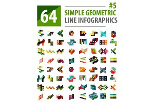 Vector mega collection line infographic design templates