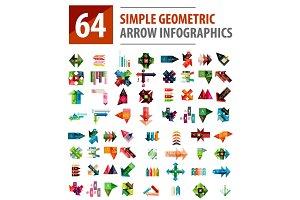 Geometric arrow infographics, mega collection