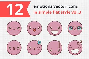 12 emotions vector icons vol.3