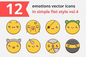 12 emotions vector icons vol.4