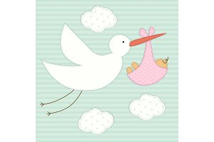 Cute baby shower card as retro fabric patch applique of stork and newborn baby