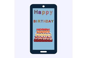 Happy birthday cake greetings smartphone