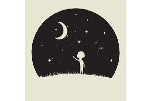 Little kid boy looks to crescent Moon