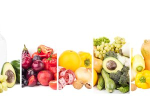 Different sets of healthy food, isolated on white