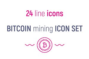 Bitcoin mining icon set