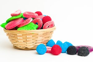 Basket with colorful candies
