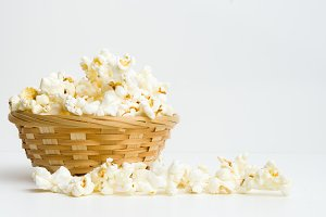 popcorn in basket