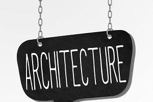 architecture word hanging blackboard