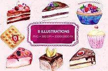 Watercolor desserts illustrations
