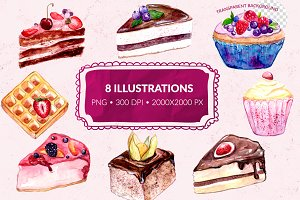 Watercolor desserts illustrations