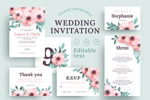 Anemones Wedding Invitation set