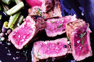 Sliced ​​beef steak