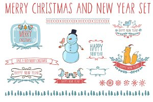 New Year set in cute cartoon style