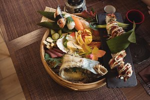 Various sushi in sushi plate