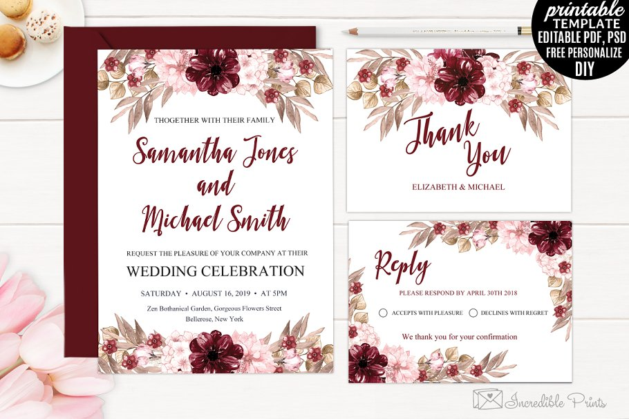 Wedding Invitation Template.Marsala Wedding Invitation Template
