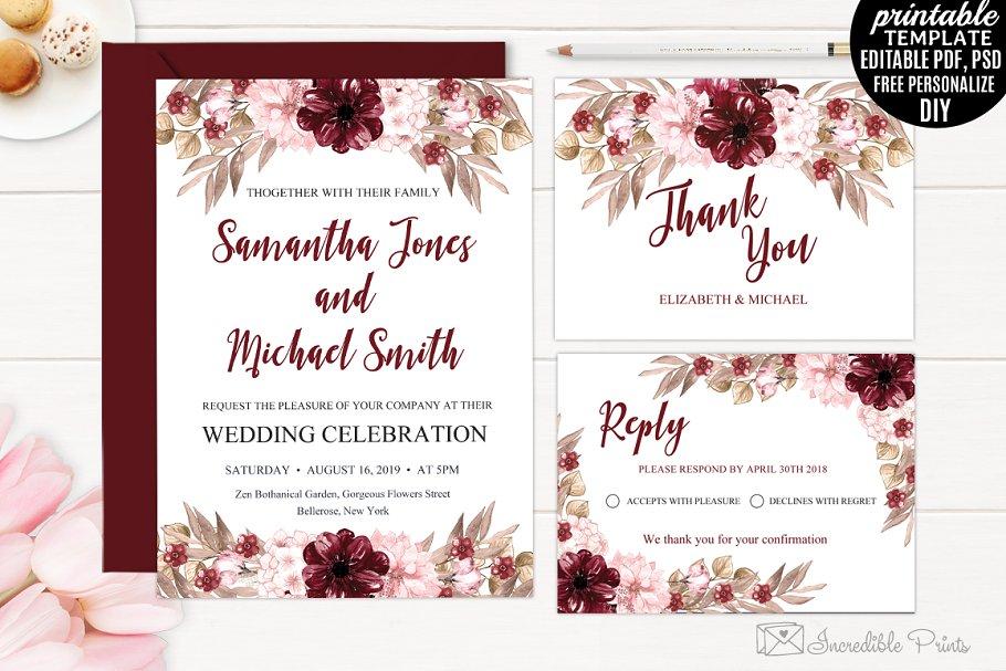 Marsala Wedding Invitation Template | Creative Wedding Templates ...