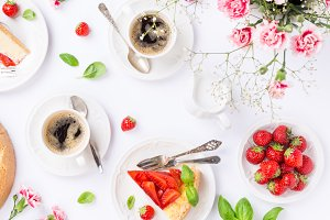 Flatlay with strawberry cheesecake
