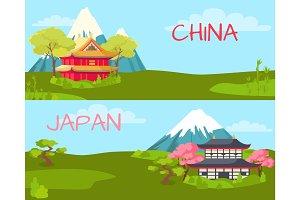 China and Japan. Landscape Cartoon illustration
