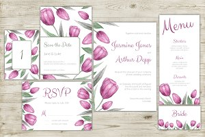 Watercolor purple tulips invitations