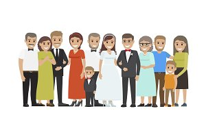 Wedding Guests Group Portrait Flat Vector Concept