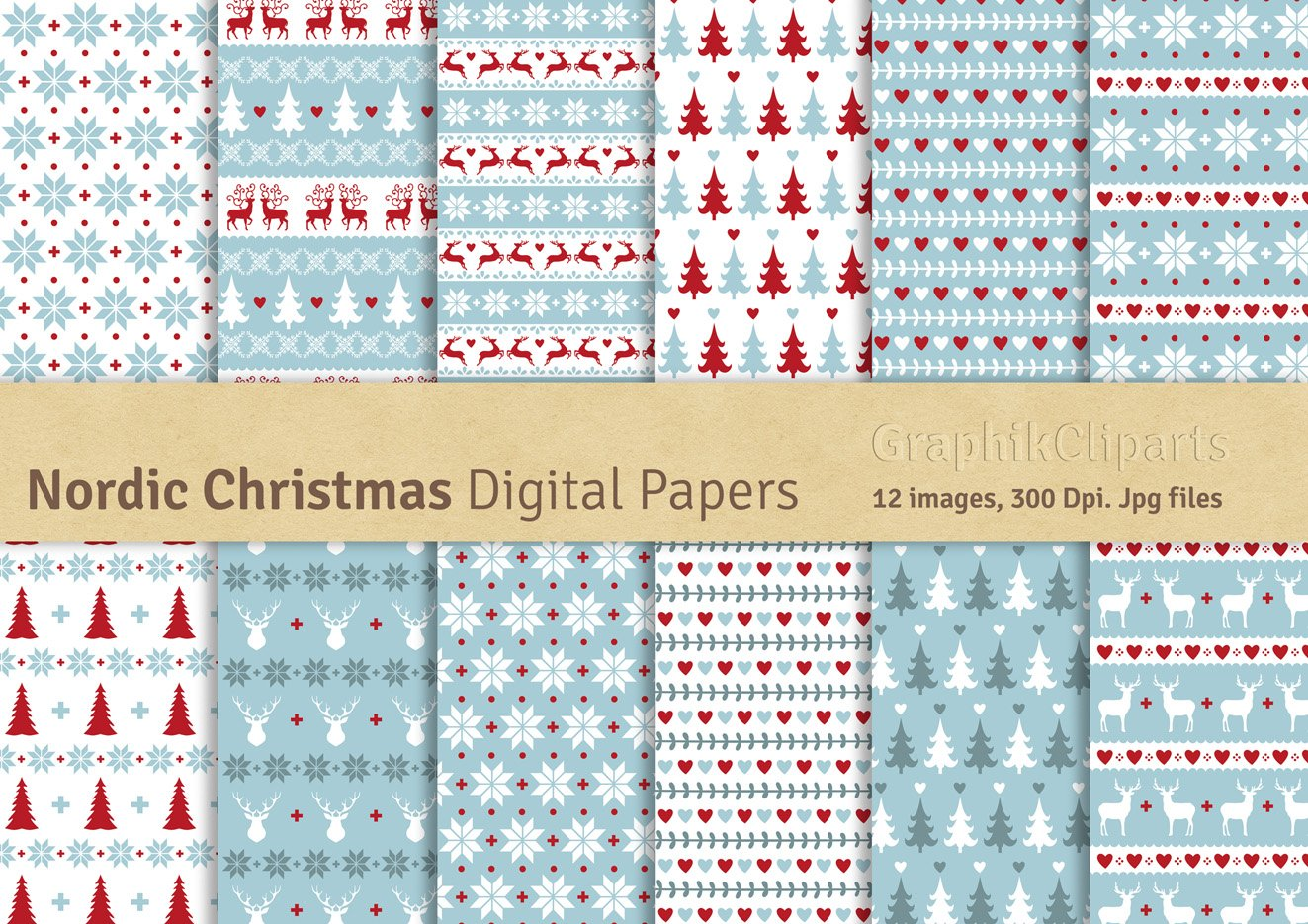 Nordic Christmas Digital Papers ~ Graphic Patterns ~ Creative Market