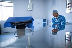 Female surgeon working