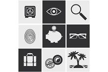 Money, finance, banking icons set
