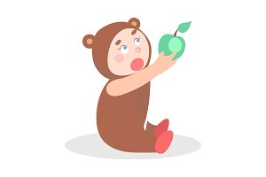 Little Child in Bear Suit with Apple Cartoon Icon