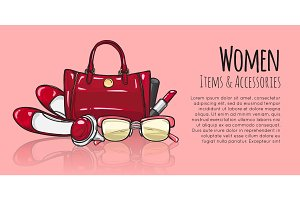Women Items and Accessories. Red Female Objects