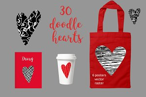 30 doodle hearts