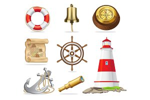 Marine Attributes Set of Isolated Illustrations