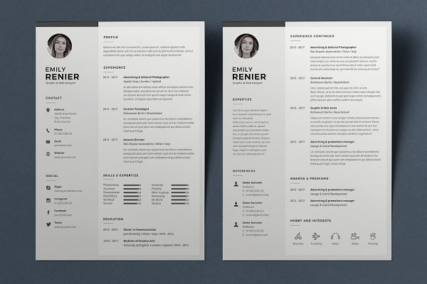 modern resume template download free templates word design