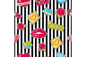 Seamless Pattern with Lips, Roses, Hearts, Diamond