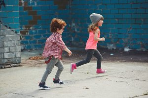 two cute little running hipsters