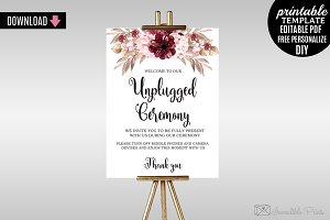 Marsala Wedding Welcome Poster