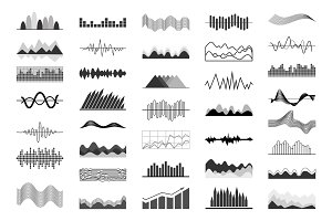 Black and White Charts and Sound Waves Indicators
