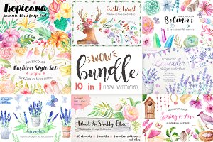 Summer Watercolor Floral BUNDLE