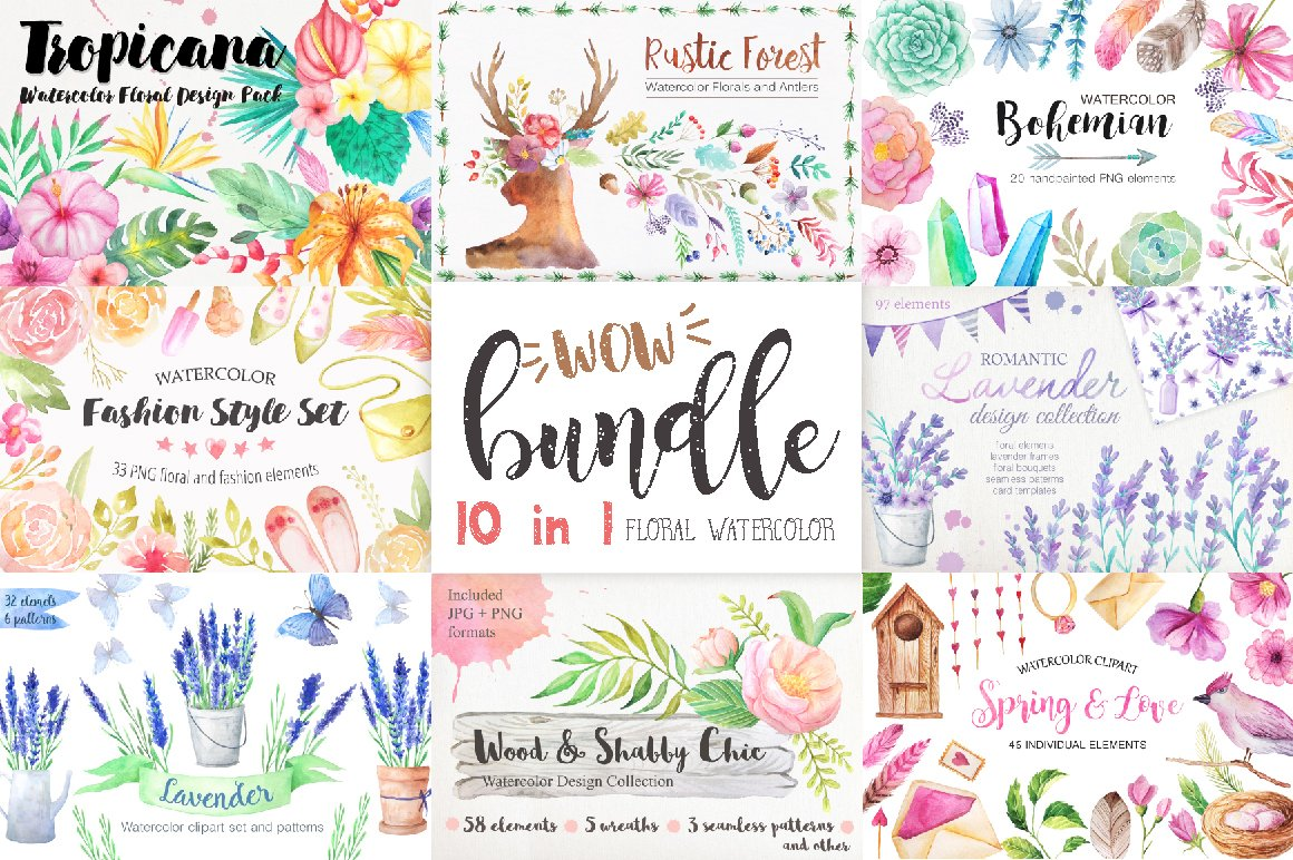 Summer Watercolor Floral BUNDLE - Illustrations
